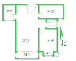 (南部)普霖m²毛坯两室,单价7300,中间楼层,